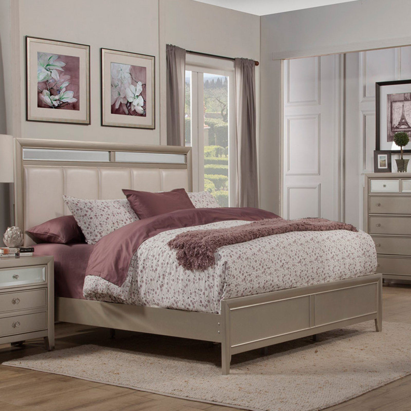 Alpine Furniture Silver Dreams Upholstered Panel Bed