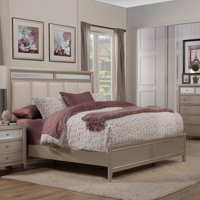 Alpine Furniture Silver Dreams Upholstered Panel Bed
