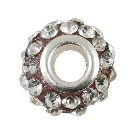 (Large Hole Rhinestone Bead 14x9mm Crystal on Purple)
