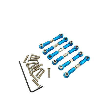 6pcs Adjustable for WLtoys A959 Upgrade Parts Aluminum Linkages Pull Rod Front Rear Servo Link A959-03 Metal Fit A969 A979 K929 Color:as shown