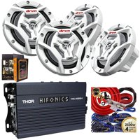(4) JVC Marine CS-DR6201MW 6.5 300W 2-Way Speakers + Hifonics 350W 4CH Amp + Kit