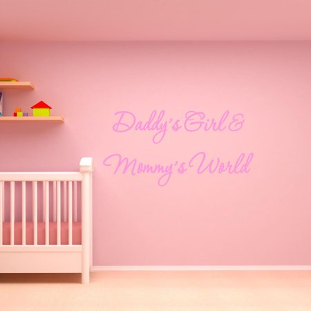 Geo Pink Wall - VWAQ Daddy's Girl and Mommy's World Pink Nursery Wall Decal Quote Vinyl Wall Art Decor Baby's Room #3