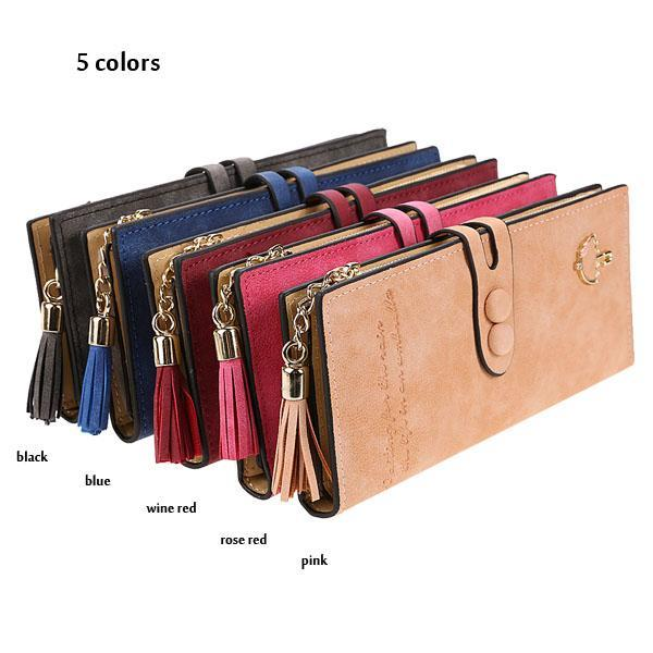 Women Lady Card Holder Long  Trifold Wallet Clutch Checkbook Handbag Tassel  Purse Synthetic Leather