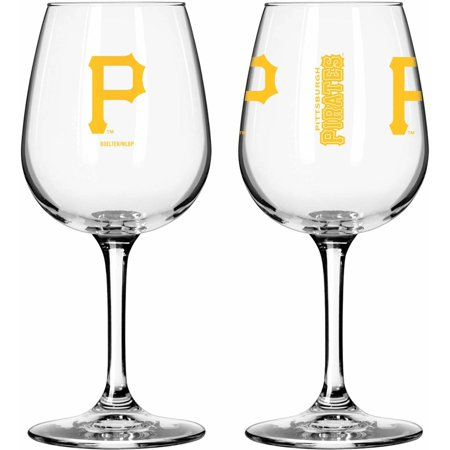 Boelter Brands MLB Set of Two 12 Ounce Wine Glass Set, Pittsburgh Pirates by