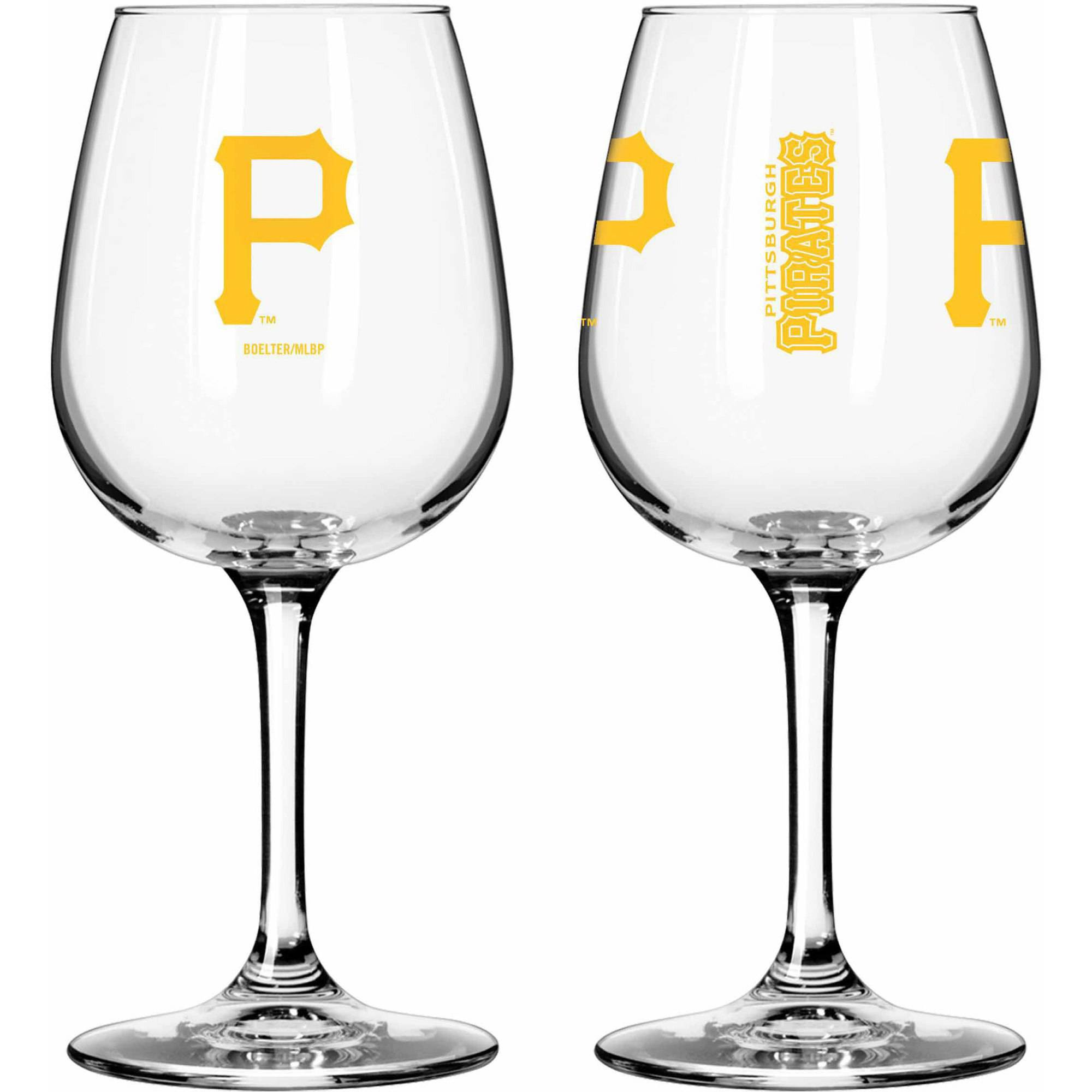 Boelter Brands MLB Set of Two 12 Ounce Wine Glass Set, Pittsburgh Pirates