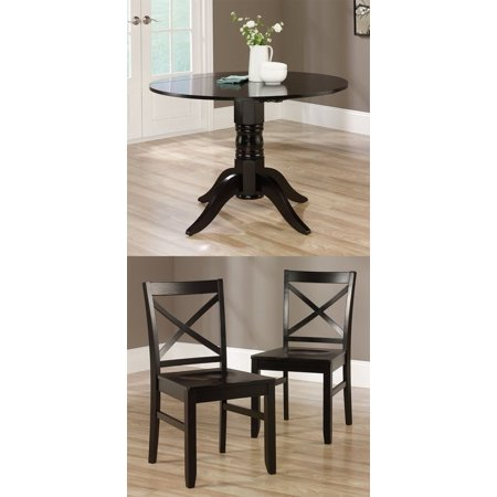 Sauder 415096 Harbor View Black Drop Leaf Kitchen Dining Table 2 X Back Chairs