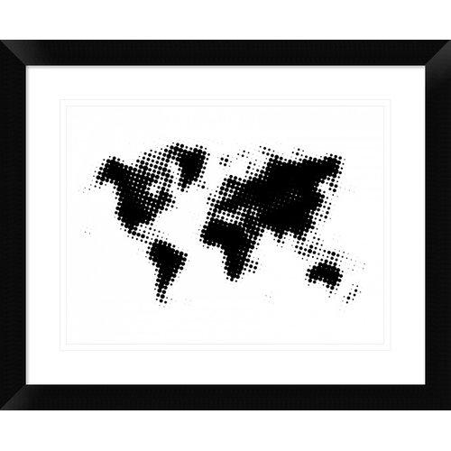 Naxart 'Black Dotted World Map' Framed Graphic Art Print