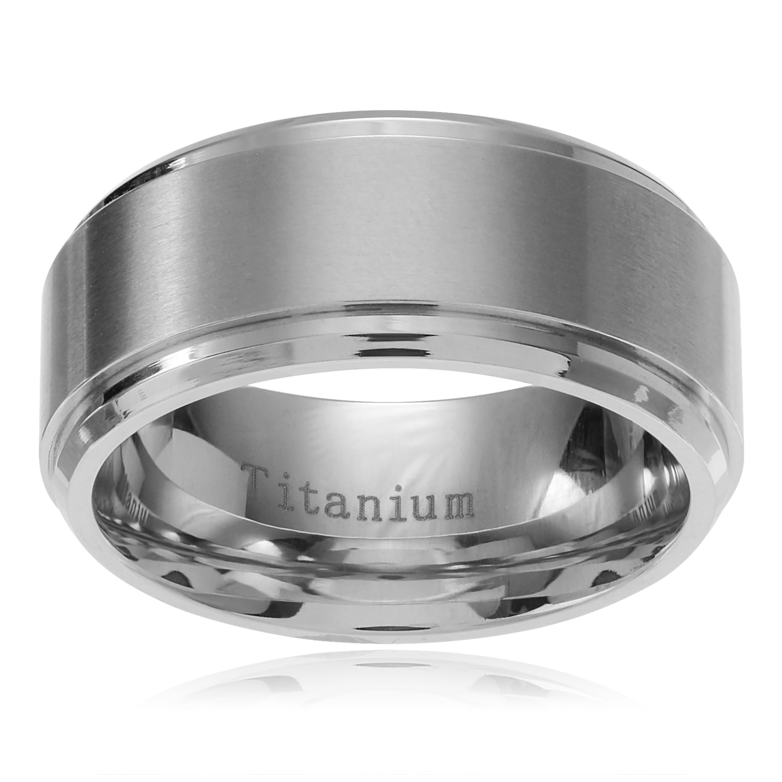 Territory Men's Titanium Brushed Center Beveled Edge Wedding Band (9mm) Size- 12