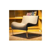 Marmaris Occasional Chair with Upholstered Seat (Dark Grey Wool Fabric)