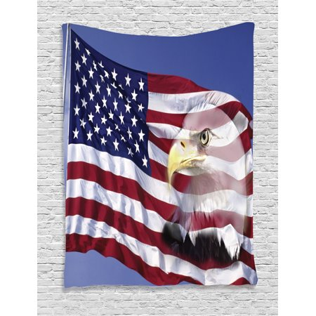 - American Flag Decor Tapestry, Bless America Flag in the Wind with Eagle Icon Double Exposure Citizen Image, Wall Hanging for Bedroom Living Room Dorm Decor, 40W X 60L Inches, Multi, by Ambesonne