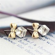 Clearance Sale Azure Crystal Water Cube Bow Beautiful Earrings Light Color