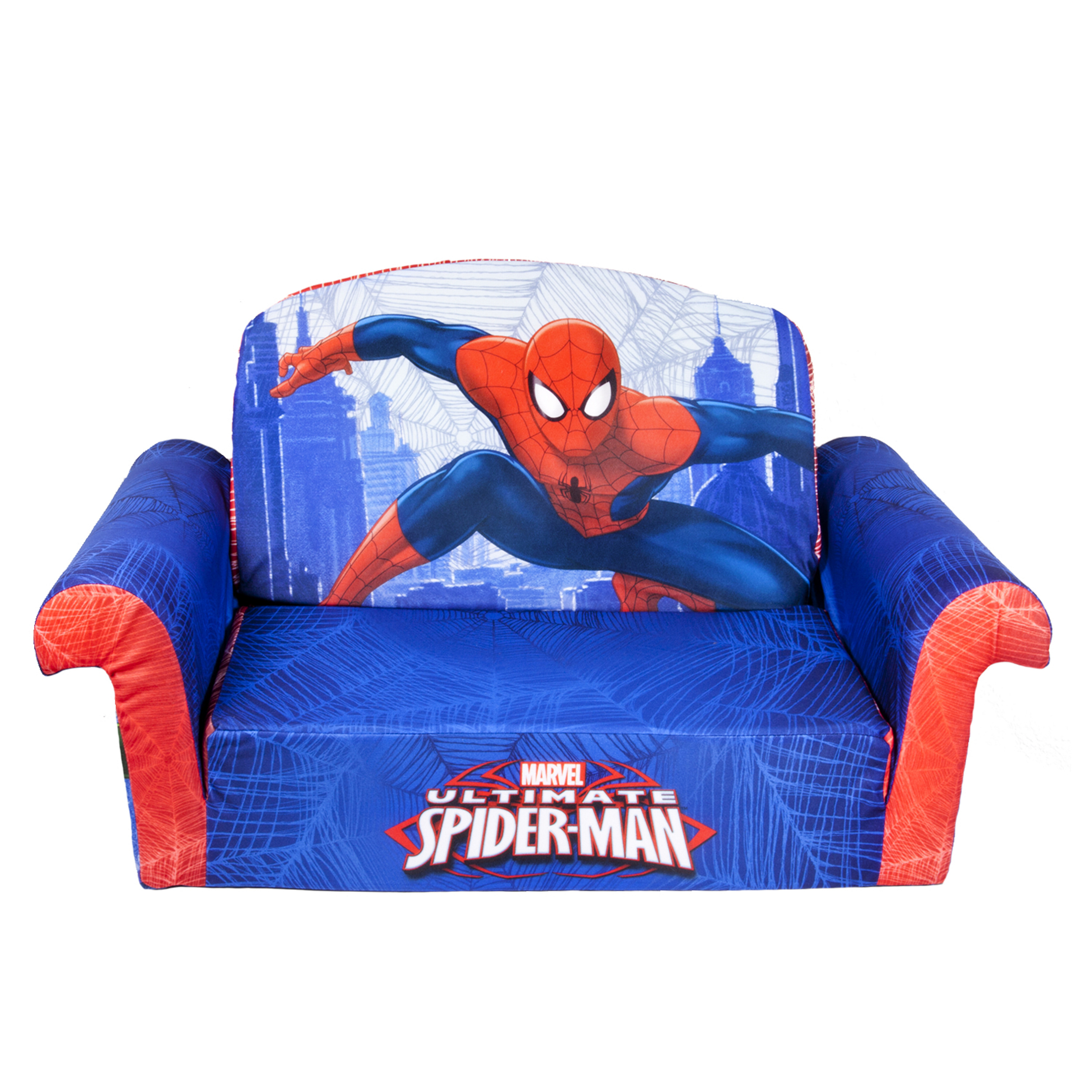 Marshmallow Furniture, Children's Upholstered 2 in 1 Flip Open Sofa, Marvel Spiderman, by Spin Master