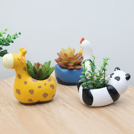 ENJOY Cute Hippo Succulent Pots With Drainage Resin Mini Flower Pot Garden Plants Vase Desk Flower Decoration](Mini Flower Pots Bulk)