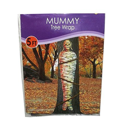 Lifesize Plastic Mummy Tree Wrap Halloween Party Decor, 5 feet