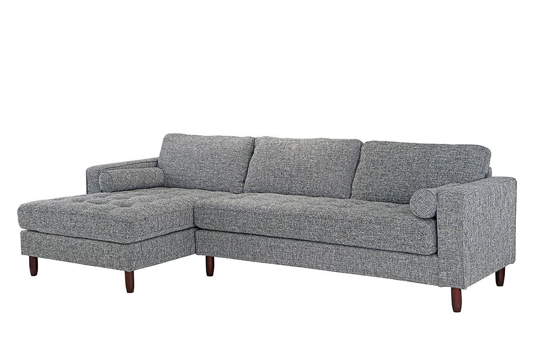 Mid-Century Modern Tufted Fabric Sectional Sofa, L-Shape ...