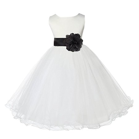 Ekidsbridal Ivory Rattail Edge Tulle Flower Girl Dress Weddings Easter Special Occasions Pageant Toddler Birthday Party Holiday Bridal Baptism Junior Bridesmaid Communion 829T