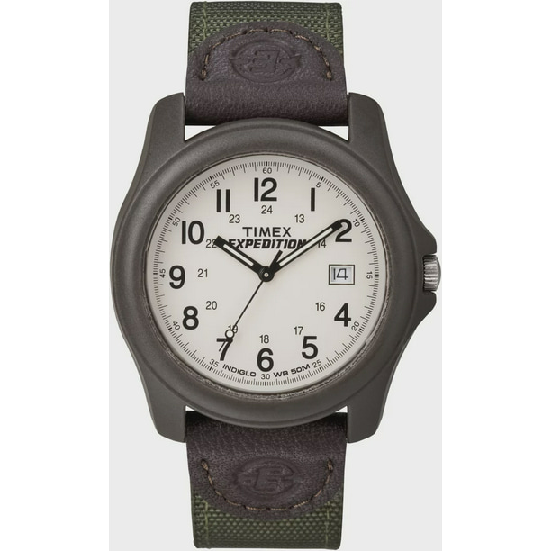 Men's Expedition Camper Watch, Green Nylon/Leather Strap