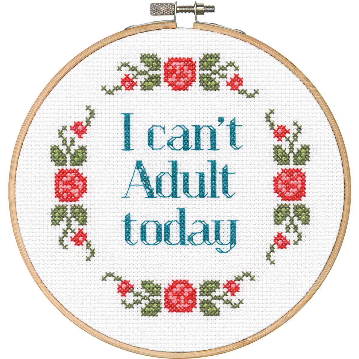 "Dimensions/Say It! Counted Cross Stitch Kit 6"" Round-Can't Adult (14 Count) - image 1 of 1"