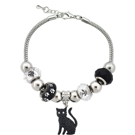Silvertone Cat Charm and Glass Beads Bracelet With Extender, 7.5
