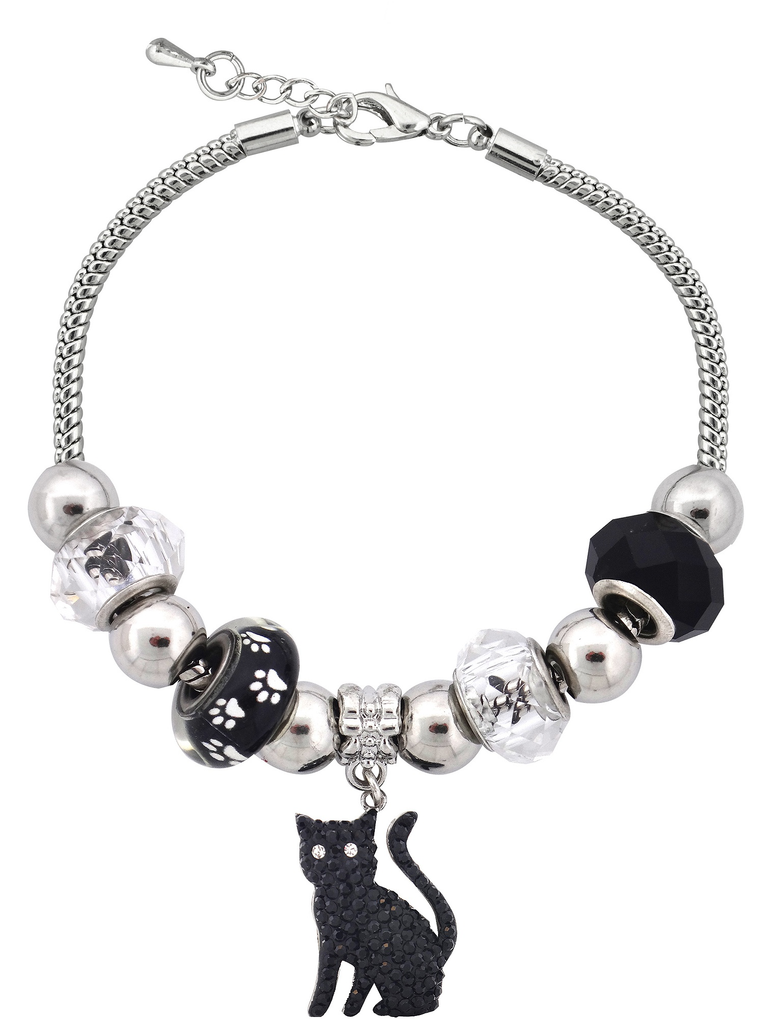 Silvertone Cat Charm and Glass Beads Bracelet With Extender, 7.5""