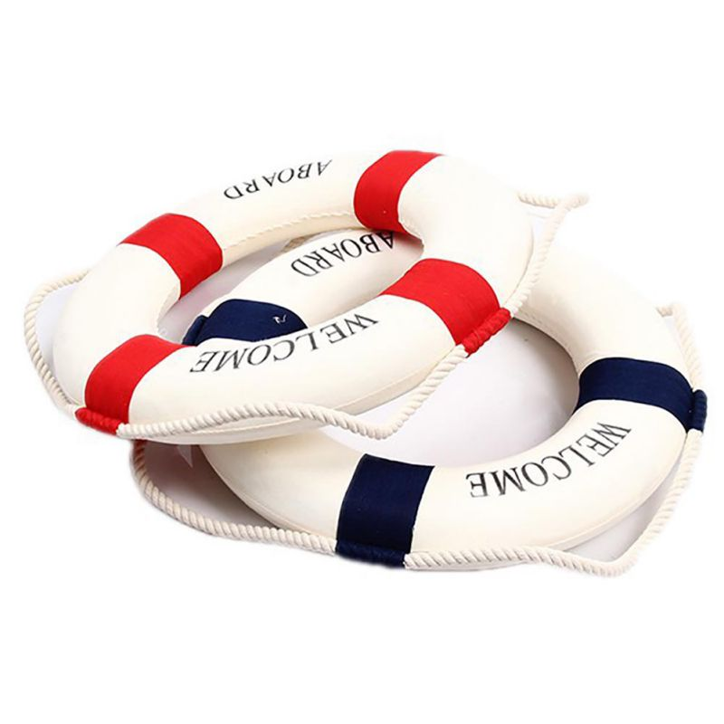 """Welcome Cloth Decorative Life Ring Buoy Home Wall Nautical Decor 13.8/"""" Blue"""