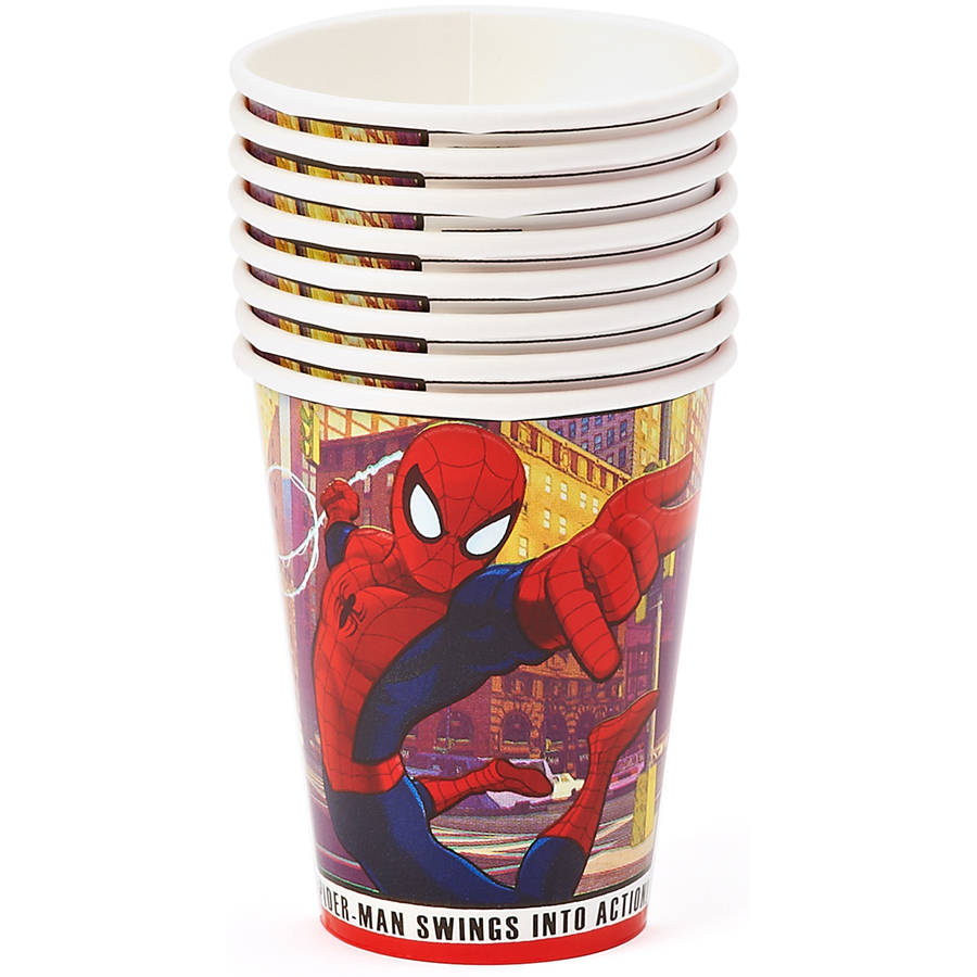 Spider-Man 9 oz. Paper Party Cups, 8 Count, Party Supplies