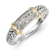 Shey Couture QTC5-8 Sterling Silver with 14k Gold Diamond Ring, Size 8