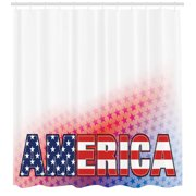 American Shower Curtain Set, USA Flag on America with Stars Background Illustration Freedom Independence Liberty, Bathroom Decor, Red Blue White, by Ambesonne