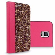 Galaxy Note 4 Case, Cellularvilla Luxury Rock Crystal Rhinestone PU Leather Diamond Wallet Case [Card Slots] Flip Folio Protective Cover For Samsung Galaxy Note 4 SM-N910S / N910C