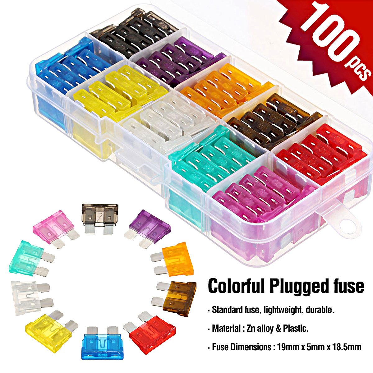 100Pcs Auto Car Blade Fuse Assortment Kit Set for Auto Car Motorcycle SUV