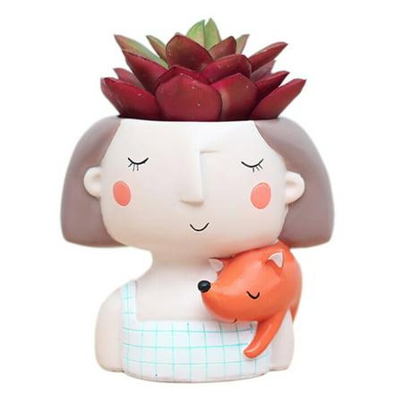 AngelCity Garden Create Lovely Cute Girl Succulent Plant Bonsai Pots Little Princess Flower Planter -