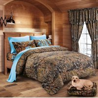Brown Camo Comforter and Camo Sheet Set [Color: Forest/Blue,Size: Full]