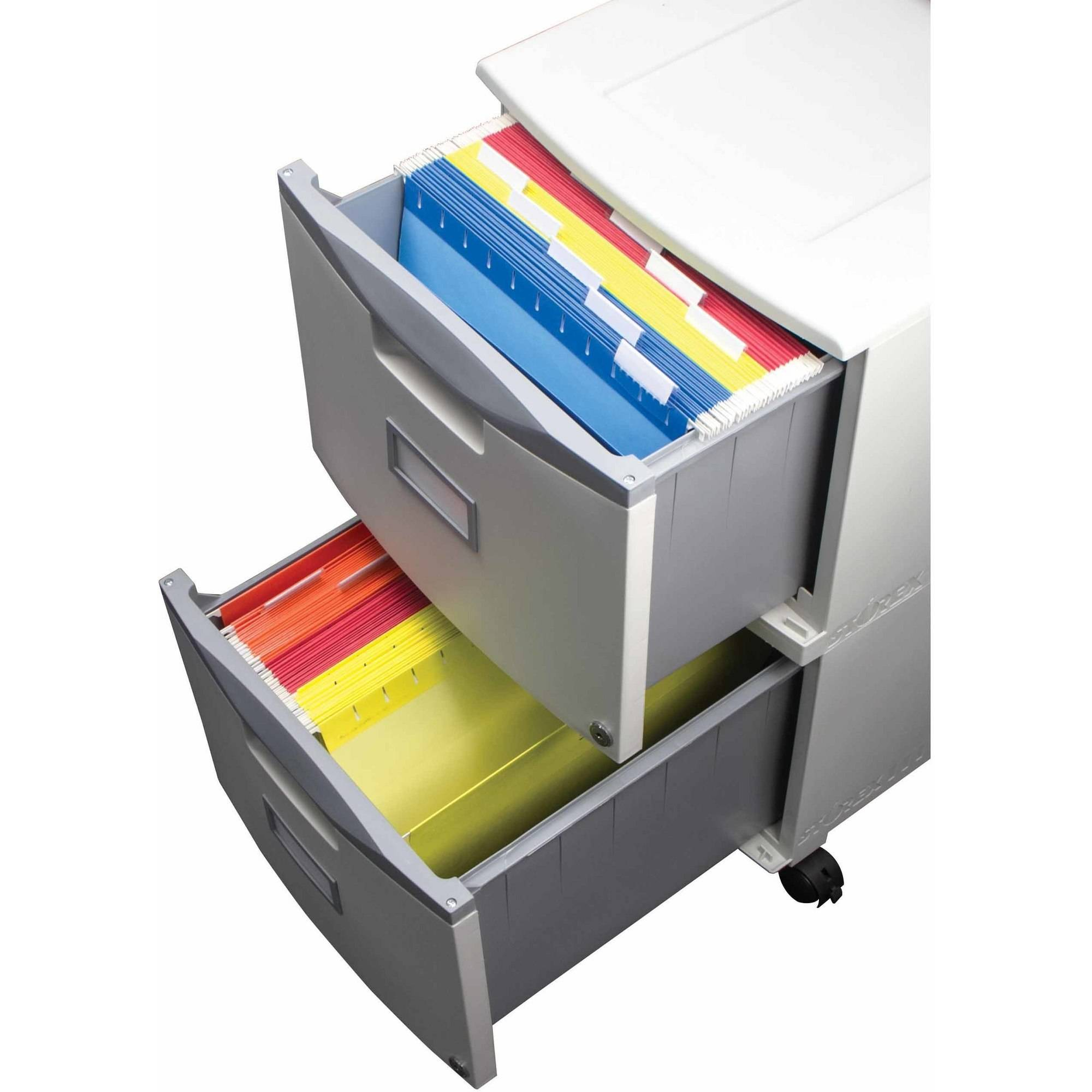 Storex 2 Drawer Mobile File Cabinet With Lock and Casters Legal