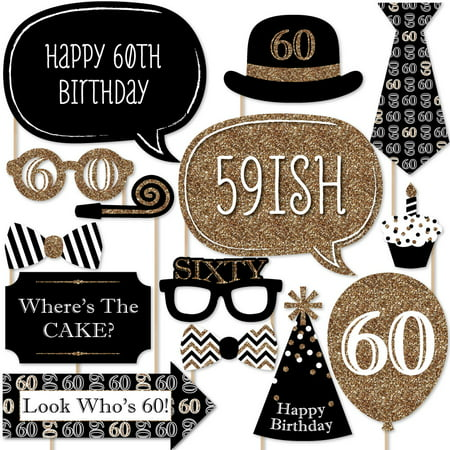 Adult 60th Birthday - Gold - Birthday Party Photo Booth Props Kit - 20 Count](Theme For 60th Birthday)