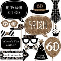 Adult 60th Birthday - Gold - Birthday Party Photo Booth Props Kit - 20 Count