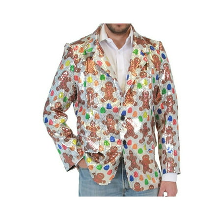 Sequin Gingerbread Man Ugly Christmas Suit Jacket