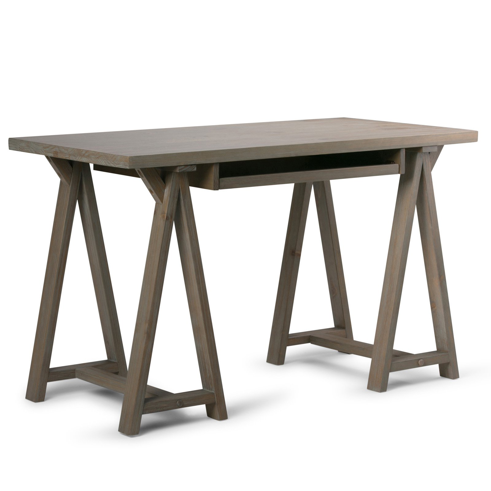 Simpli sawhorse small desk indoor home office furniture wood distressed grey new