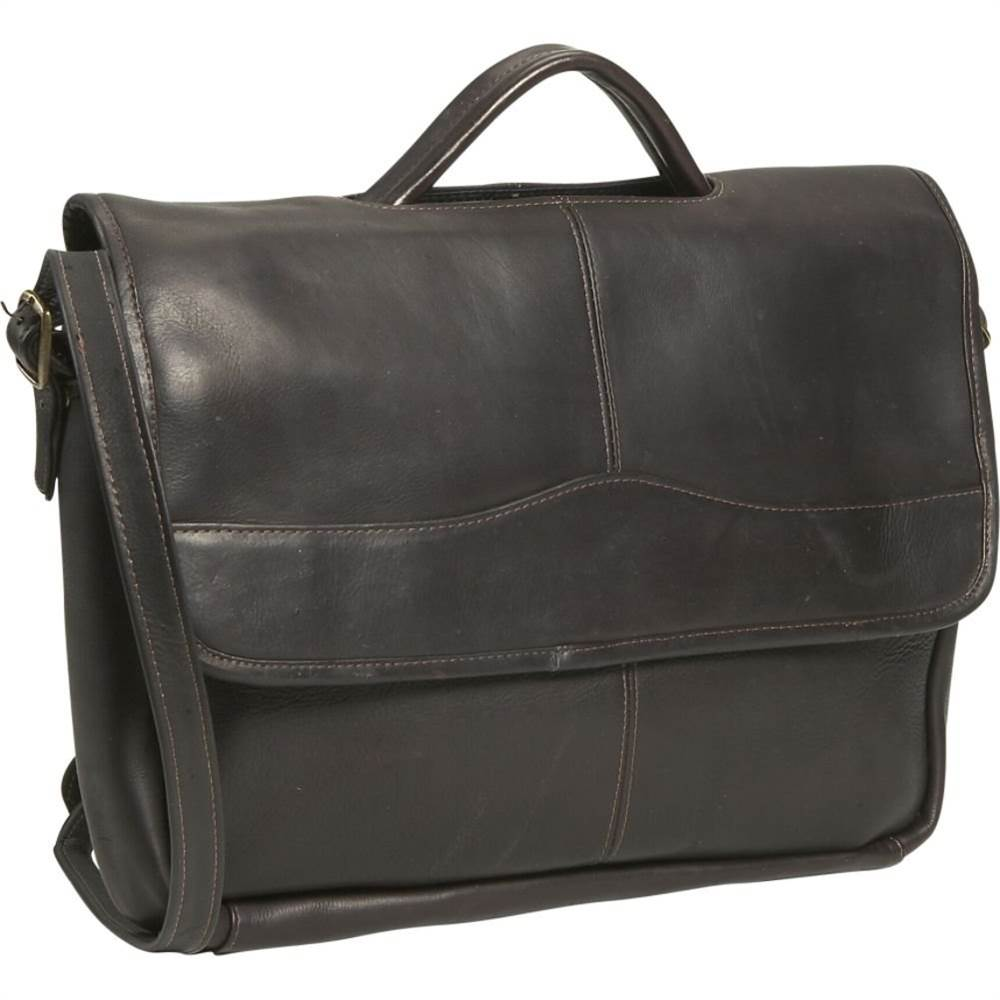 Simple Porthole Flap Over Leather Briefcase (Black)