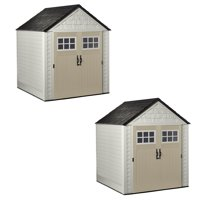 Rubbermaid 7x7 Ft Weather Resistant Resin Outdoor Storage Shed, Sand, 2 Pack
