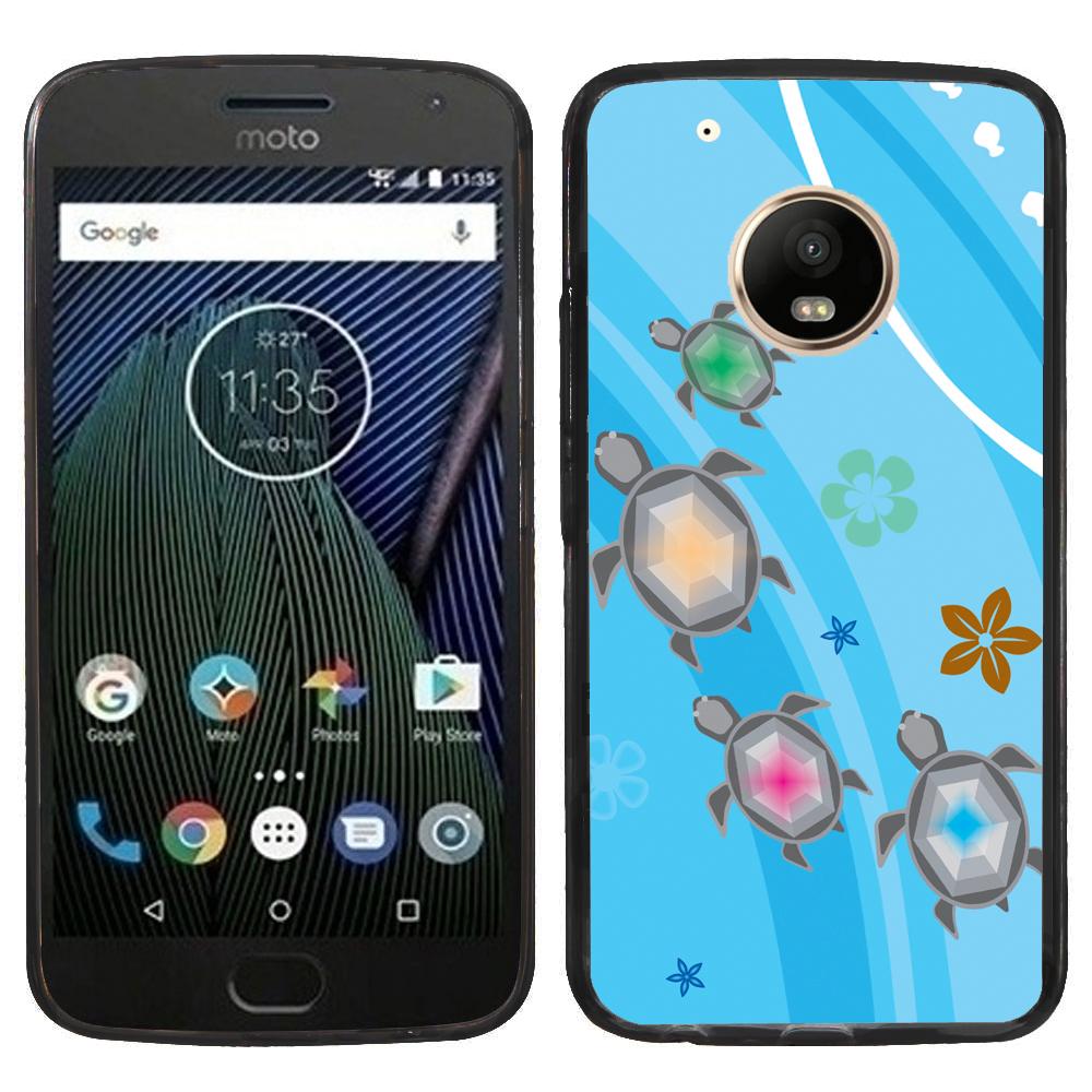 Fit Moto E4, OneToughShield ® Slim-Fit Premium TPU Gel Phone Case (Black Bezel) for Motorola Moto E4 - Happy Turtle