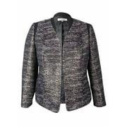 kasper women's open front metallic textured blazer