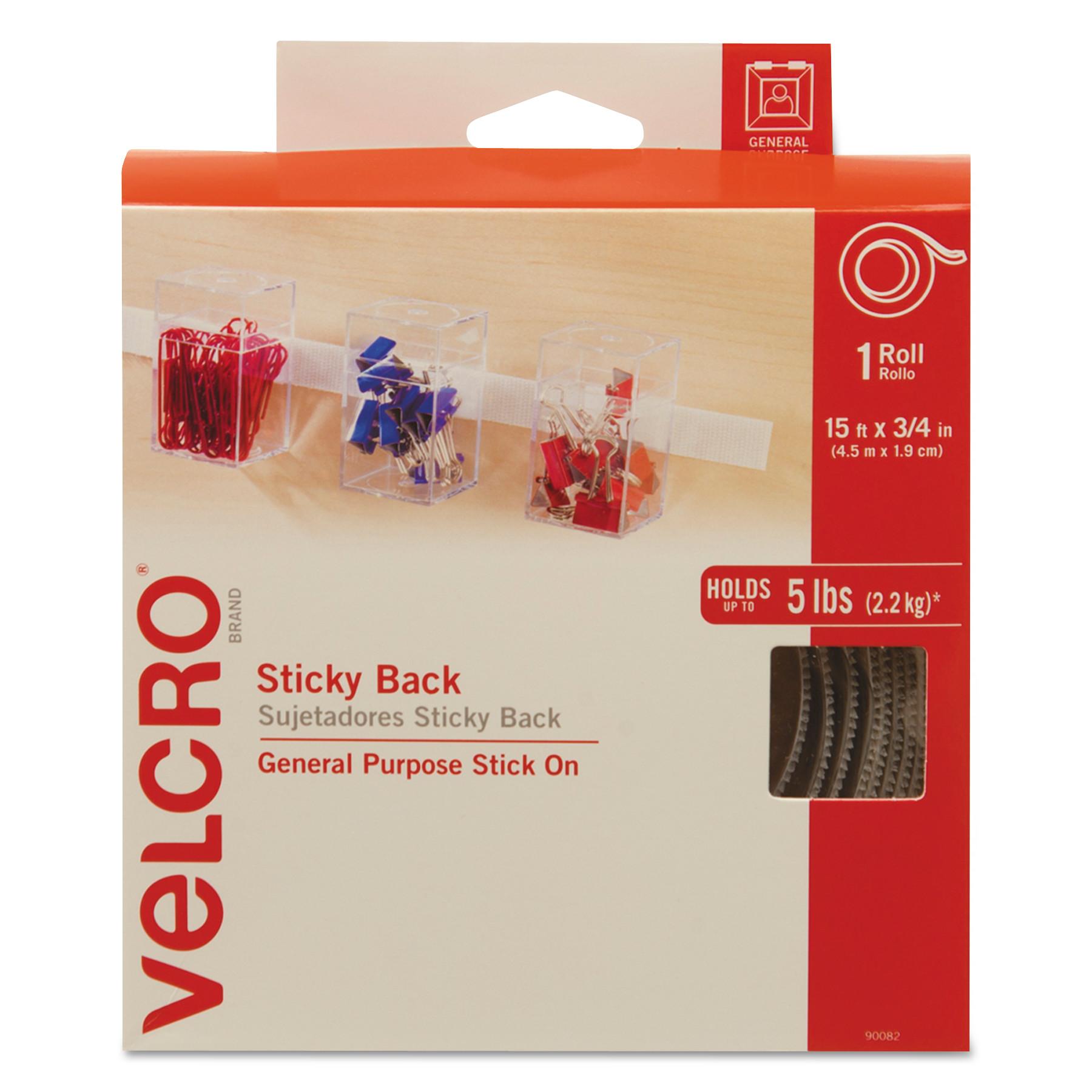 "Velcro Sticky-Back Hook & Loop Fasteners w Dispenser, 3 4"" x 15ft Roll, Black -VEK90081 by VELCRO USA, INC."