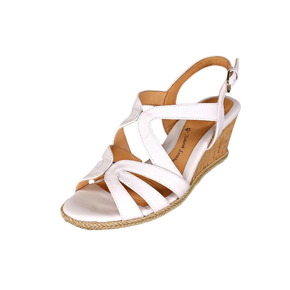 Sofft Ilene Women Open Toe Leather White Wedge Sandal by Sofft