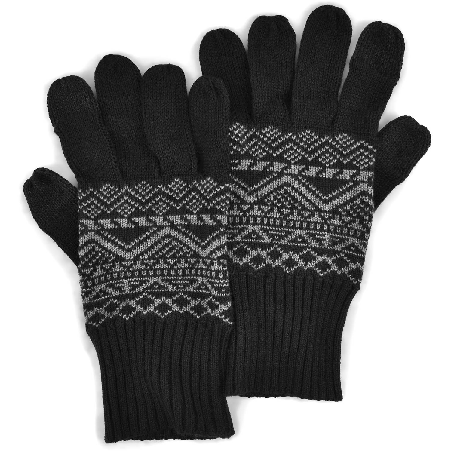 MUK LUKS Men's Pattern Gloves with Texting Thumb and Fingers