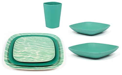 Bamboozle 24-piece Bamboo Place Setting Service for Four (Mint Leaf   Ocean Print) by Bamboozle