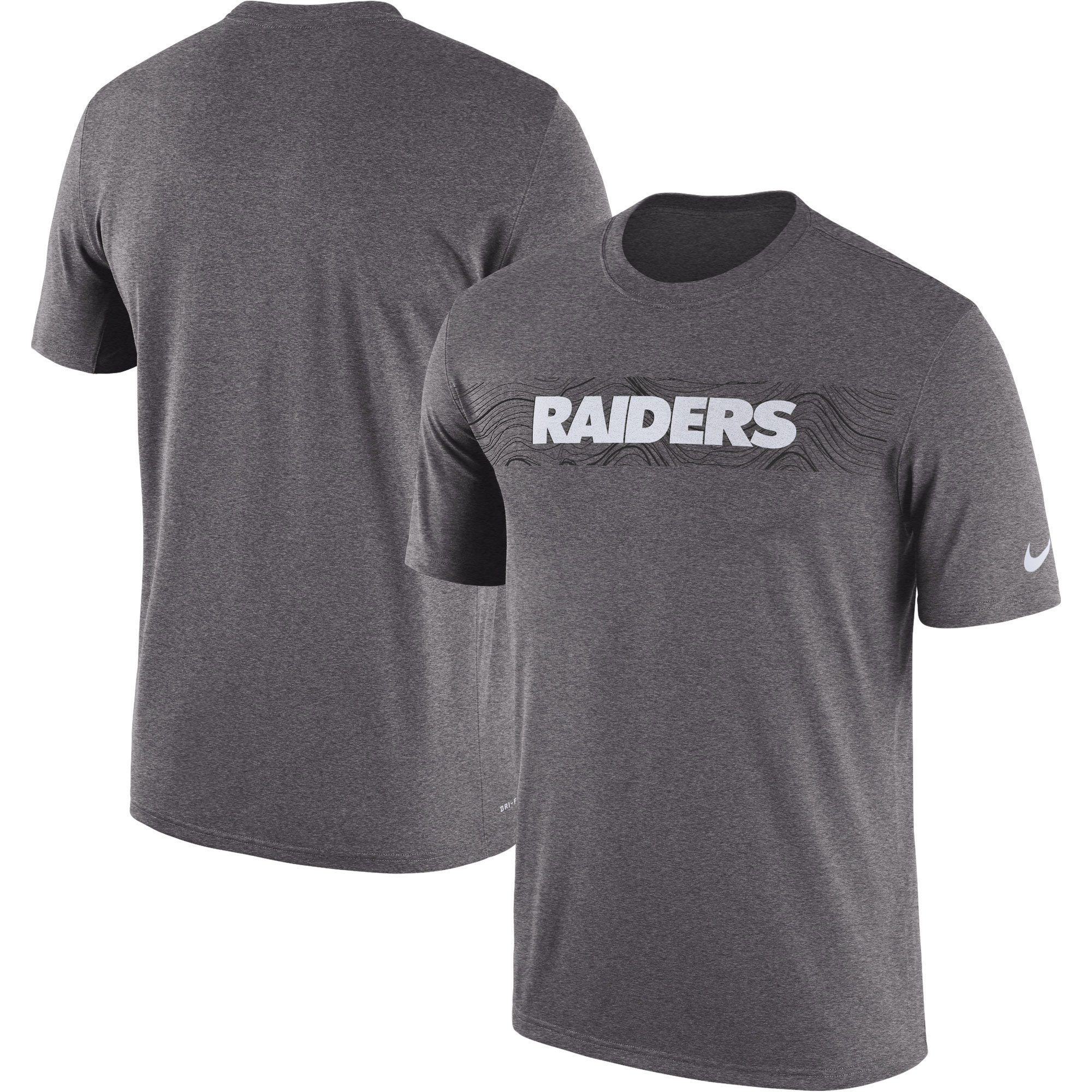 Oakland Raiders Nike Sideline Seismic Legend Performance T-Shirt - Heathered Charcoal