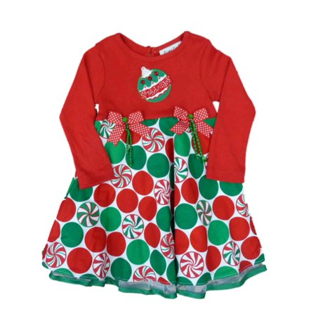 Rare Too! Infant & Toddler Girls Red Candy Ornaments Holiday Christmas Dress](Rare Too Christmas Dress)