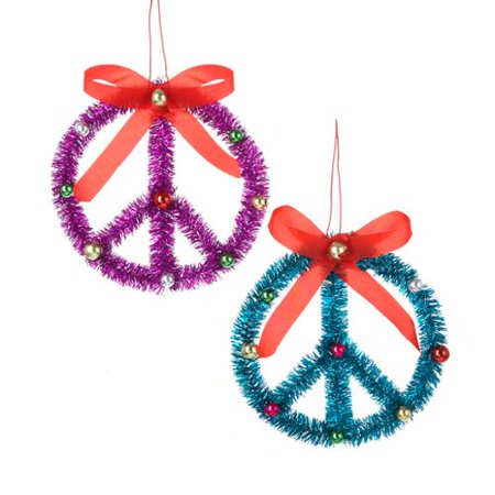 Club Pack Of 24 Purple And Blue Peace Sign Christmas Ornaments 45