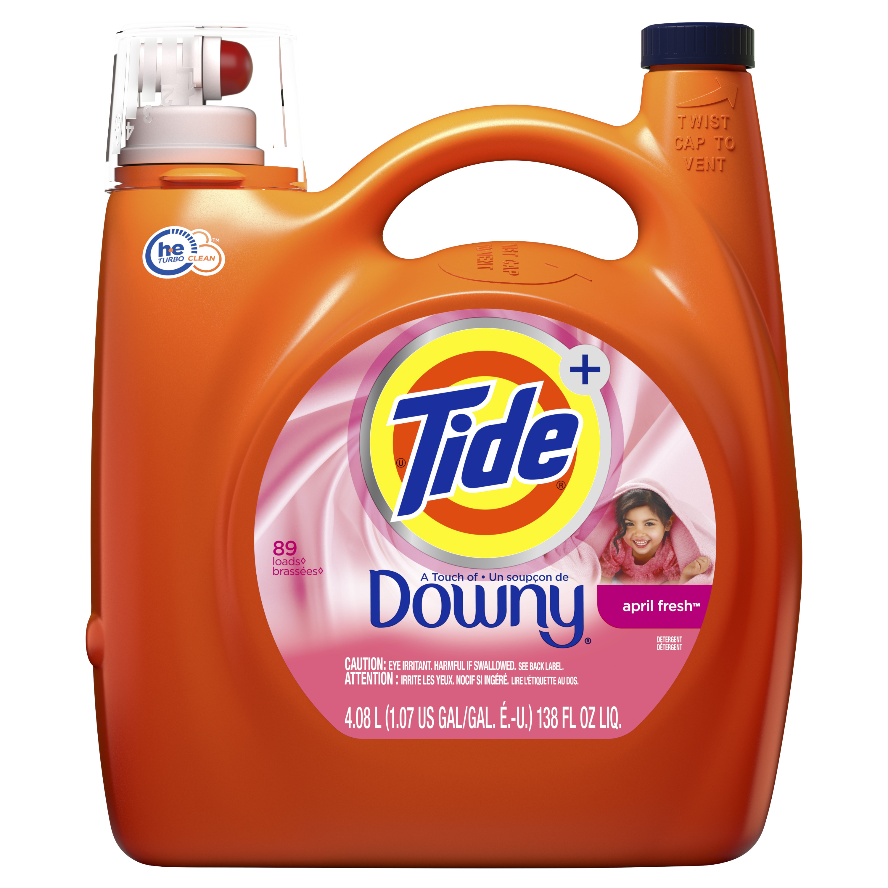 Tide plus Downy Liquid Laundry Detergent, April Fresh, 138 fl oz 89 loads