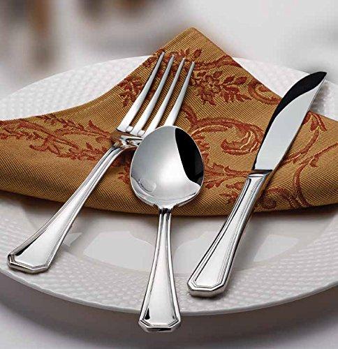 Winco Venice 3 Dozen Flatware Set, Extra Heavy 18-0 Stainless Steel Classic Old-Fashioned Dinner Spoons (Dozen Pack), Dinner Forks (Dozen Pack) and Dinner Knives (Dozen Pack), 36-Piece Set